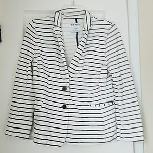 White and Navy Blue Striped Cotton Blazer Jacket
